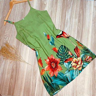 Vestido Alcinha Curto Monalisa Florido Verde