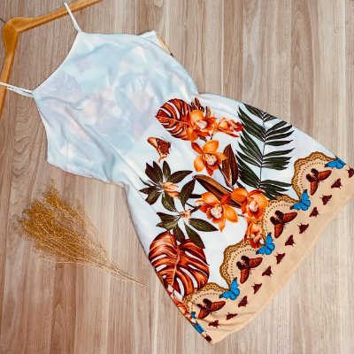 Vestido Alcinha Curto Monalisa Florido Branco