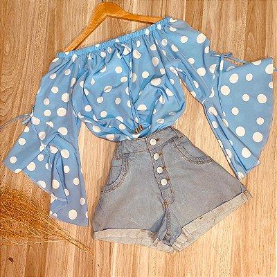 Blusa Ciganinha Manga 3|4 Lacinho Monalisa Poá Azul Claro