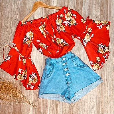 Blusa Ciganinha Manga 3|4 Lacinho Monalisa Flores Vermelho