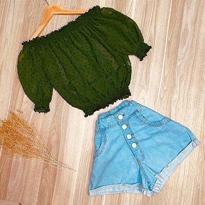 Blusa Ciganinha Chiffon Elástico Embaixo Deborah Verde