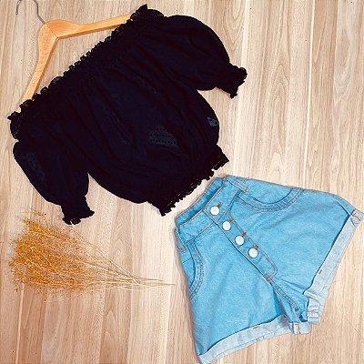 Blusa Ciganinha Chiffon Elástico Embaixo Deborah Azul Escuro