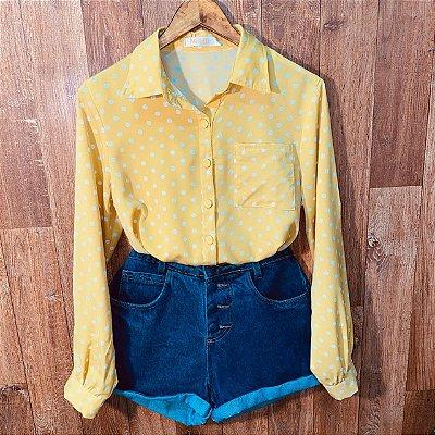 Camisa Manga Longa com Bolso Deborah Poá Amarelo