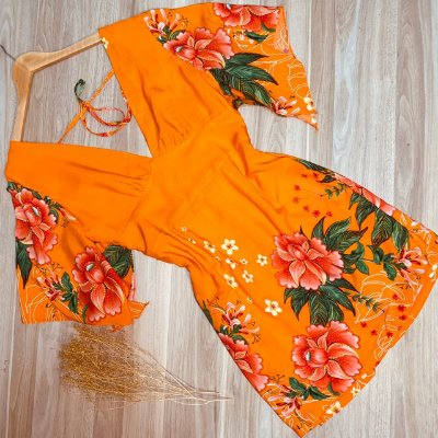 Vestido Decote V Lacinho de Amarrar Deborah Floral Laranja