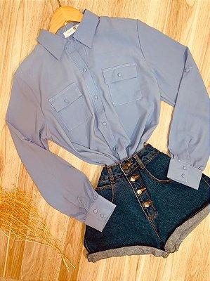 Camisa Manga Longa Botões Encapados com Bolso Deborah Azul
