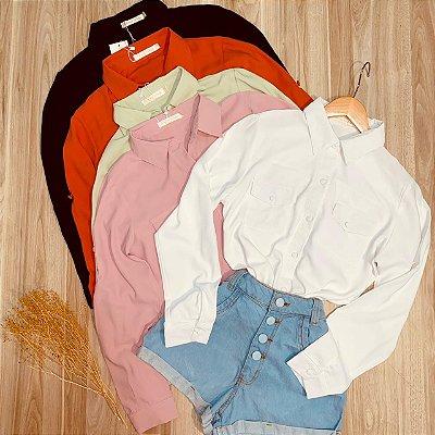 Camisa Manga Longa com Bolso Botões Encapados Sofia