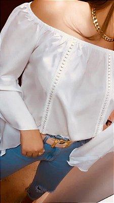 Blusa Ciganinha Manga 3|4 Renda Lisa