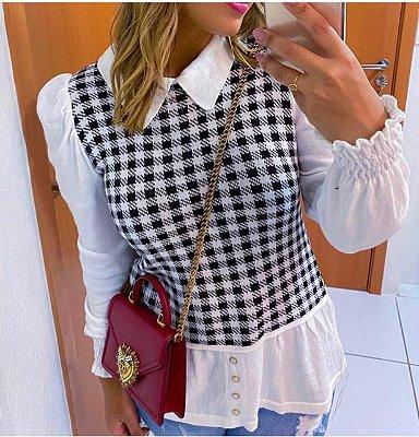 Blusa Tricot Xadrez Modal