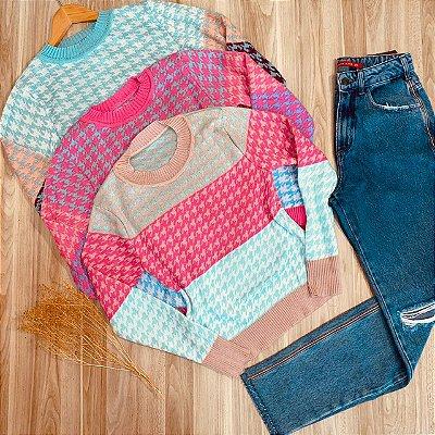 Blusa Tricot Pied Poule Colors