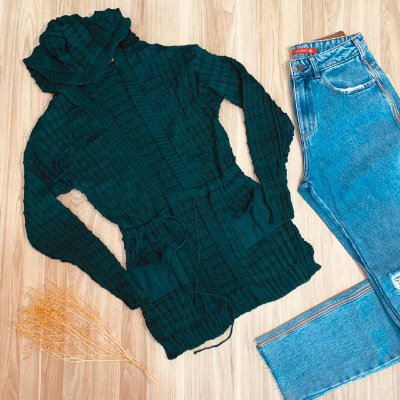 Blusa Maxi Cardigan Tricot Fashion Green