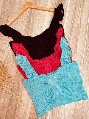 Blusa Tricot Cropped Modal com babadinho na alça