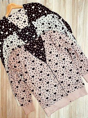 Blusa Cardigan Tricot Decote V Corações