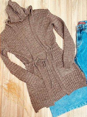 Blusa Maxi Cardigan Tricot Top Marrom