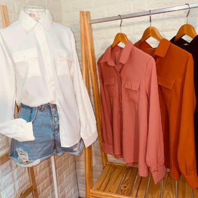 Camisa Florença Manga Longa com Botões Encapados