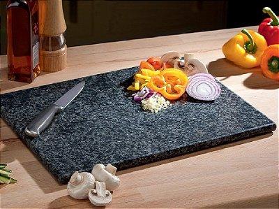 Tábua De Carne Corte Cozinha Churrasco De Granito Preto 55 cm x 30 cm