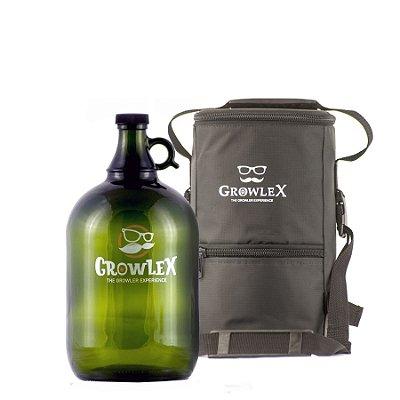 Kit Growler Vidro (Bigode) - 4 Litros + Bolsa Growlex (Classic) - 4 Litros