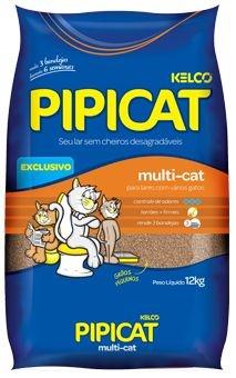 Areia Para Gatos Pipicat Multi-Cat 12kg