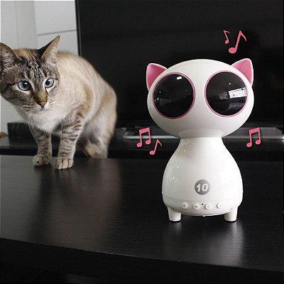 Mini Caixa de Som Portátil com Bluetooth Gato Branco.