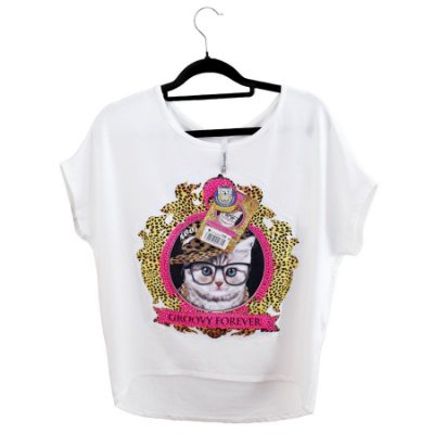 Blusa Branca Fancy Cat Aplique Off White