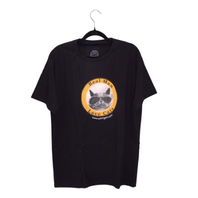 Camiseta Preta Real Man Love Cats