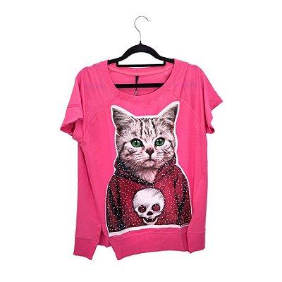 Camiseta Pink Cat Olho Verde
