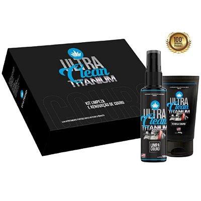 (NOVO) Ultra Clean Titanium - Limpa, Hidrata e Protege Todos os Tipos de Couros  acompanha kit de espuma aplicadora e pano  (Bancos, laterais, artigos em couro em geral)