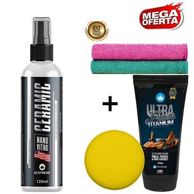 Promoção Especial - Proteção Máxima e Ultra Brilho 1 Ceramic Nano Vitro (Cristaliza e Protege por 5 meses) + 1 Ultra Finish Titanium + Brindes