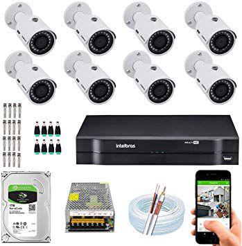 ( Já Instalado)Kit Cftv 8 Câmeras Hd Intelbras 1120b G4 Dvr 8 Canais+ hd 1/tb
