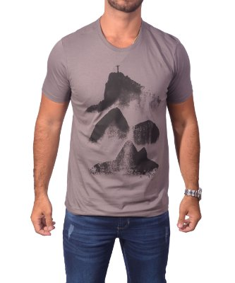 Camiseta Over Black Tshirt Rio de Janeiro - Cinza