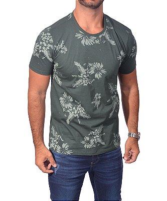 Camisa Over Black  Tshirt Hibisco - Verde Musgo