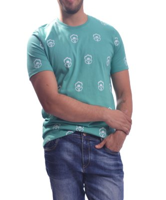 T-Shirt Over Black Flowers Icon - Azul