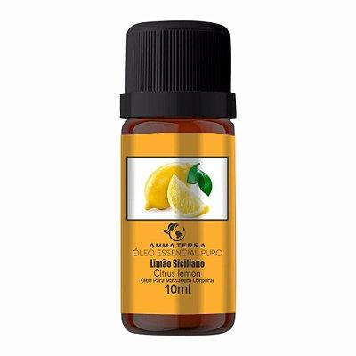 Óleo Essencial De Limão Siciliano 10ml,  (Ideal para tratar celulite, pele, acne e mãos manchadas. é um excelente tônico geral. Tonifica unhas e cutículas)