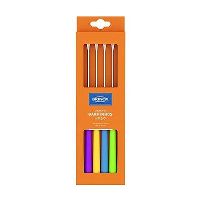 Conjunto Garfo Para Fondue 6 Peças Beli 24cm Colorido Brinox