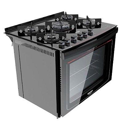 Fogão 5Q Embutir Dako Turbo Glass Preto Mesa Vidro Digital