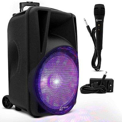 Caixa De Som Amplificada Portátil Lenoxx Ca340 Bluetooth USB Sd Rádio Função Karaokê Com Microfone