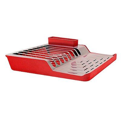 Escorredor de Pratos Inox e Plástico Vermelho Minimal Brinox