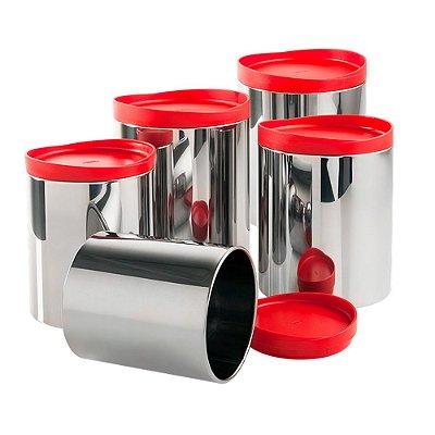 Conjunto Potes Mantimentos 5 Peças Suprema Vermelho Brinox