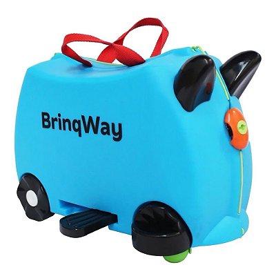 Mala Infantil Carrinho Puxador Rodinha Azul Importway BW070