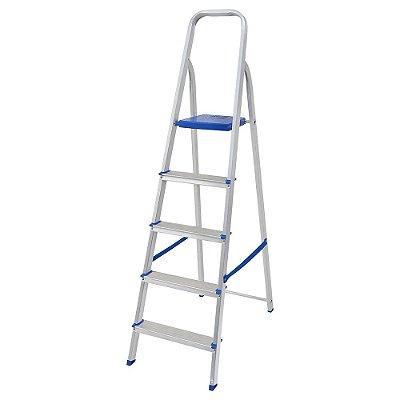Escada Aluminio 5 Degraus Uso Doméstico Até 120 kilos Mor