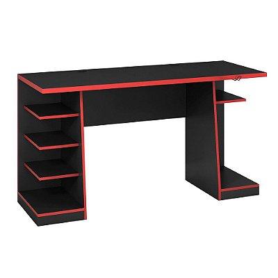 Escrivaninha Mesa Gamer Preto e Vermelho Notável Móveis