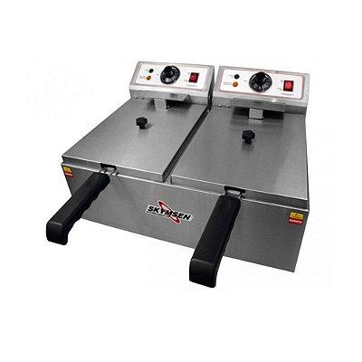 Fritadeira Elétrica Skymsen FED-20-N 10L Inox 2 Cubas 220v