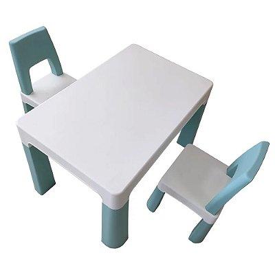 Conjunto de Mesa Infantil 2 Cadeiras Azul BW090 Importway