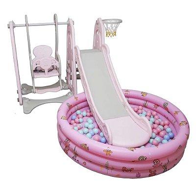 Playground Infantil 4x1 Piscina de Bolinhas Rosa Importway