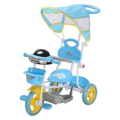 Triciclo Infantil Passeio Haste 2 Em 1 Azul Claro Importway