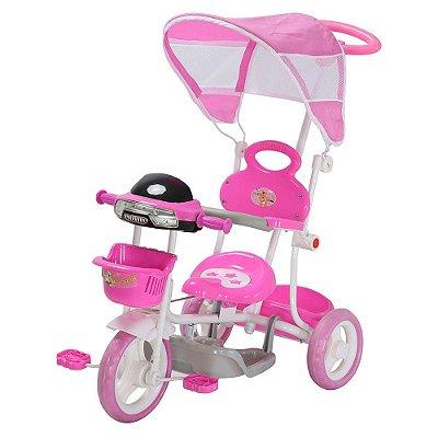 Triciclo Infantil Passeio Com Haste 2 Em 1 Rosa Importway