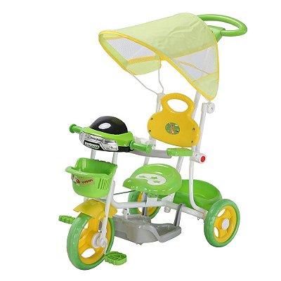Triciclo Infantil Passeio Com Haste 2 Em 1 Verde Importway