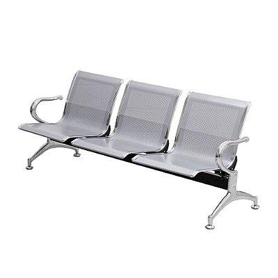 Banco Longarina 3 Assentos Aço Cromado Importway LWBL3-002