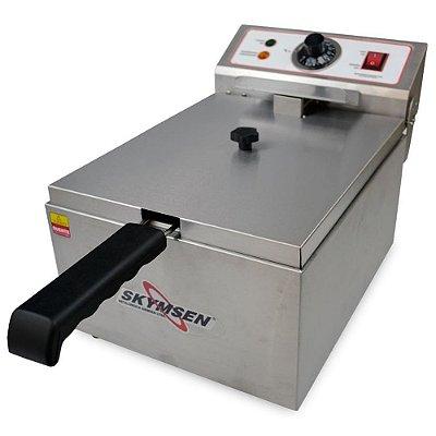 Fritadeira Elétrica Skymsen FE-10-N 5l Inox 1 Cuba Inox 127v