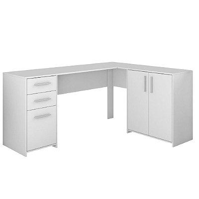 Mesa de Canto Office 3 Gavetas 2 Portas Branco Notável Móveis