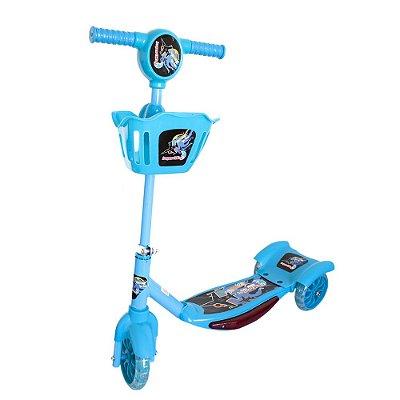 Patinete Infantil 3 Rodas Cesta e Luzes Azul BW010 Importway